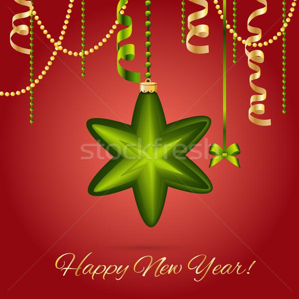 Nieuwjaar wenskaart christmas star bal boeg Stockfoto © LittleCuckoo