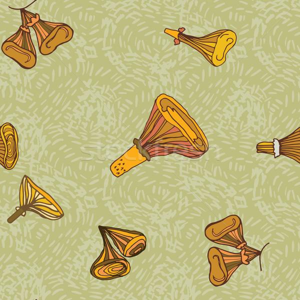 Seamless vector pattern of dchanterelle mushrooms Stock photo © LittleCuckoo