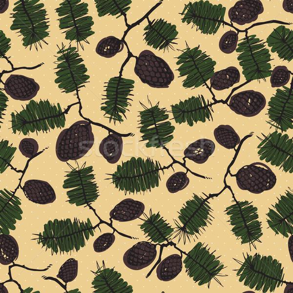 fir pine pattern. christmass tree cones seamless vector illustration Stock photo © LittleCuckoo