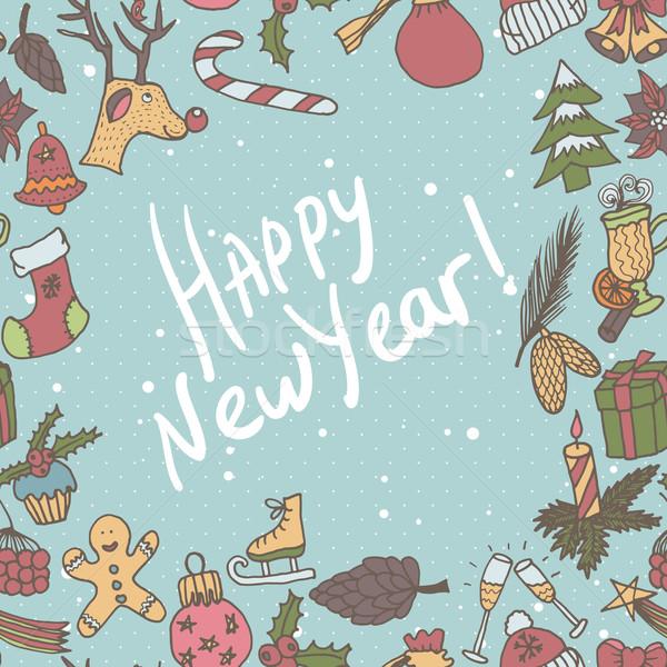 Nowy rok bezszwowy granicy nieskończony christmas szablon Zdjęcia stock © LittleCuckoo