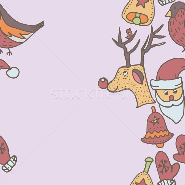 Año nuevo sin costura frontera Navidad plantilla Foto stock © LittleCuckoo