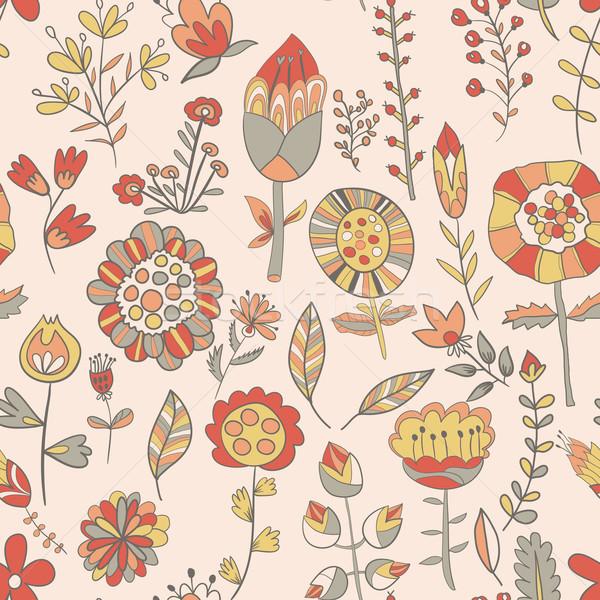 Modello di fiore cute doodle senza soluzione di continuità texture fiori Foto d'archivio © LittleCuckoo