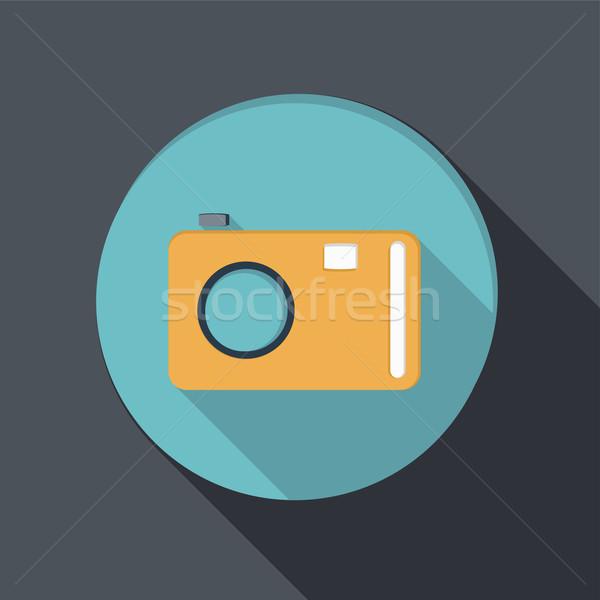 Photo stock: Papier · icône · ombre · photo · caméra · design