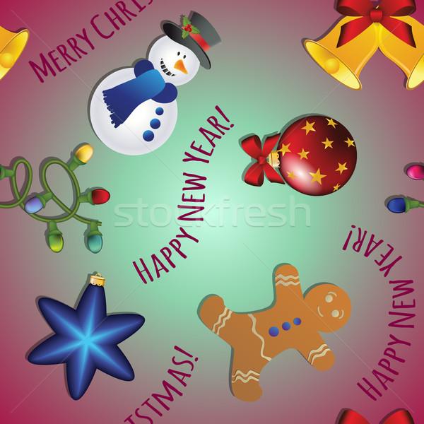 Новый год шаблон снеговик Колобок колокола гирлянда Сток-фото © LittleCuckoo