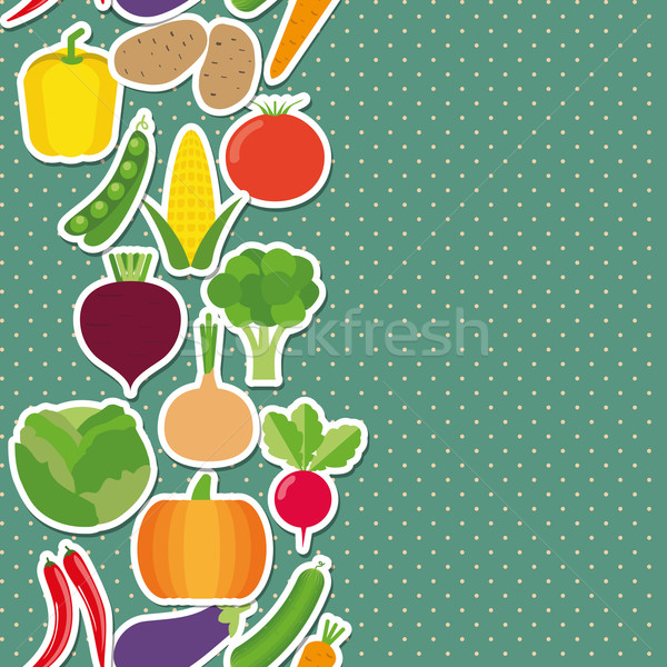 Stock photo: vegetable seamless border pattern. The image of vegetables
