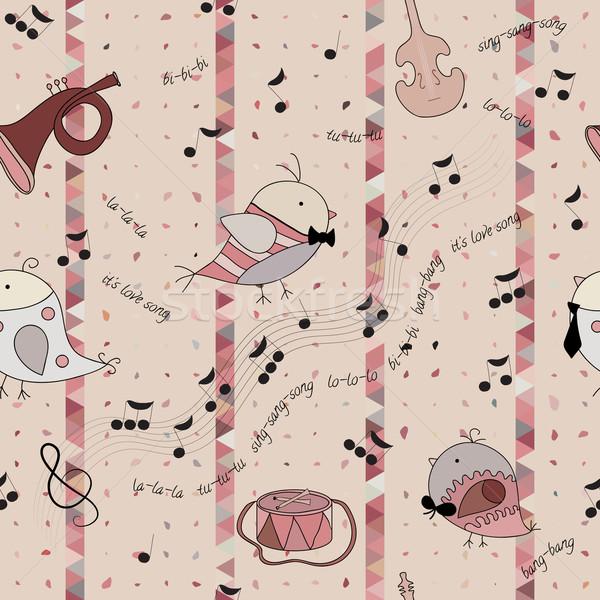 птица любви песня музыкальный инструмент сведению барабан Сток-фото © LittleCuckoo