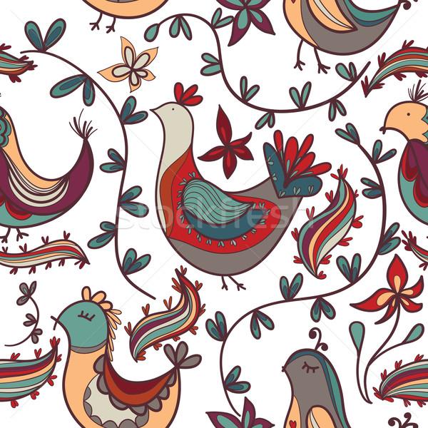 Naadloos textuur bloemen vogels oneindig Stockfoto © LittleCuckoo