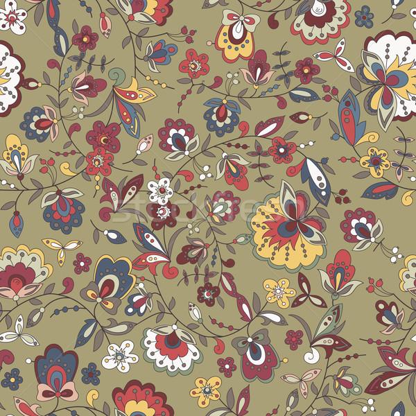 Bloem tak Blauw abstract bloemen patroon Stockfoto © LittleCuckoo