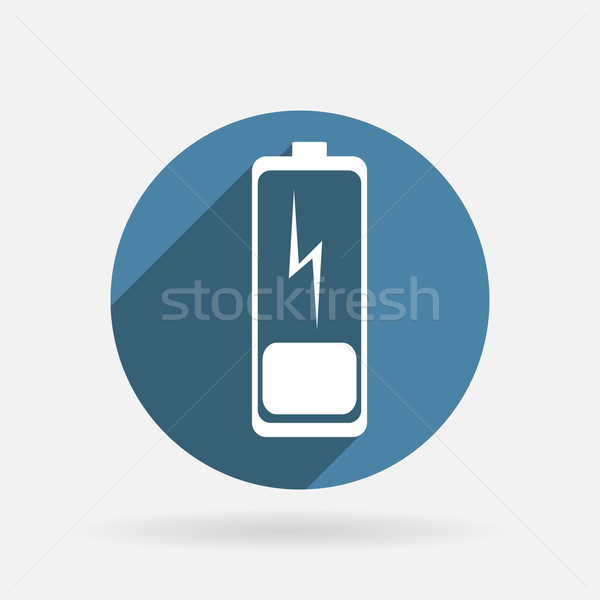 discharged battery. Circle blue icon with shadow. Stock photo © LittleCuckoo