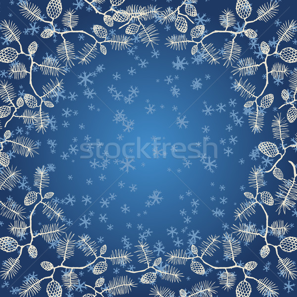 Snowflakes and fir cone on blue gradient Stock photo © LittleCuckoo