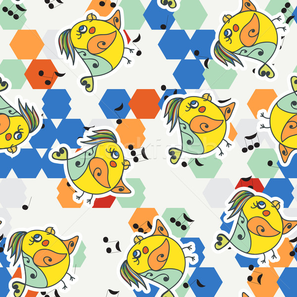 Renkli altıgen kuş doku Stok fotoğraf © LittleCuckoo