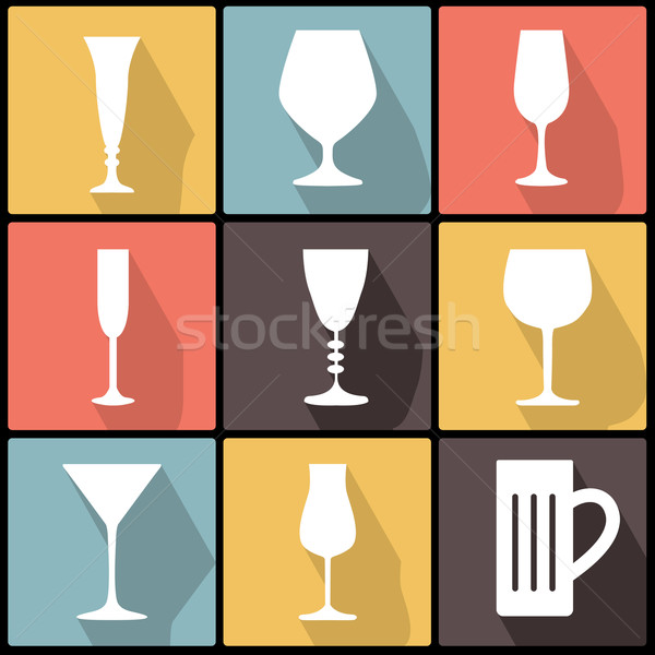 Icons with stemware in Flat Design Stock photo © LittleCuckoo