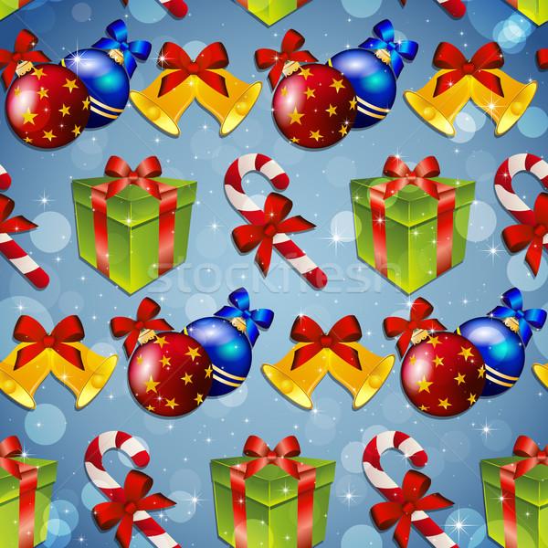 Сток-фото: Новый · год · шаблон · дерево · игрушками · подарок · полосатый