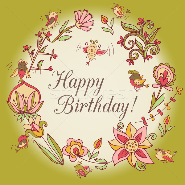 Happy Birthday Greeting Card Circle Floral Frame Vector