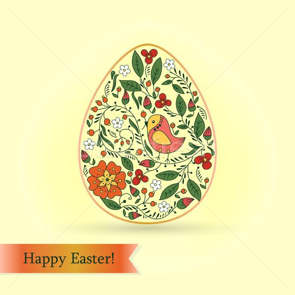 Easter egg kuş çiçekler tebrik kartı çiçek doku Stok fotoğraf © LittleCuckoo