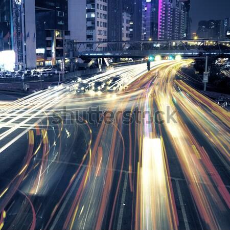 Stad drukke verkeer China business landschap Stockfoto © liufuyu