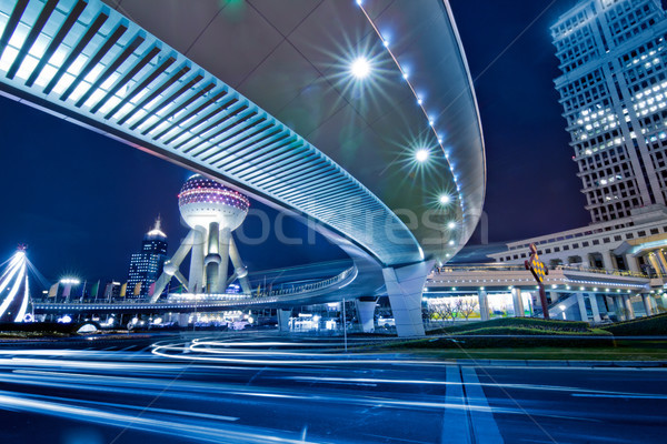 Sjanghai nacht verkeer centrum gebouw abstract Stockfoto © liufuyu