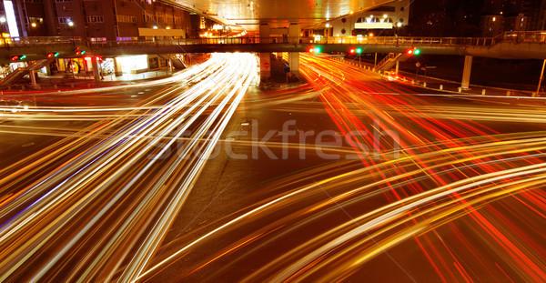 Stockfoto: Sjanghai · licht · stedelijke · weg · spitsuur · verkeer