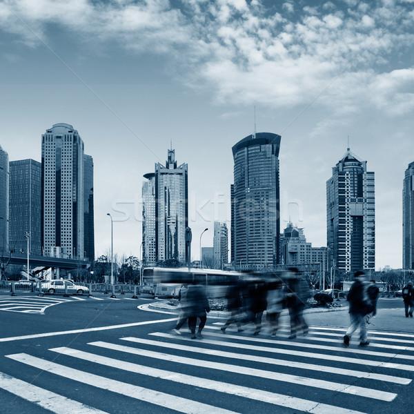 Сток-фото: Шанхай · улице · сцена · небе · автомобилей · здании