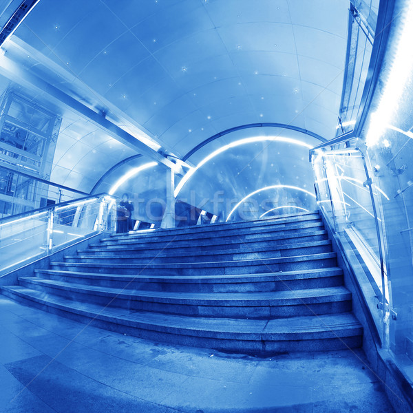 Voetganger tunnel Blauw glas gang kantoor Stockfoto © liufuyu