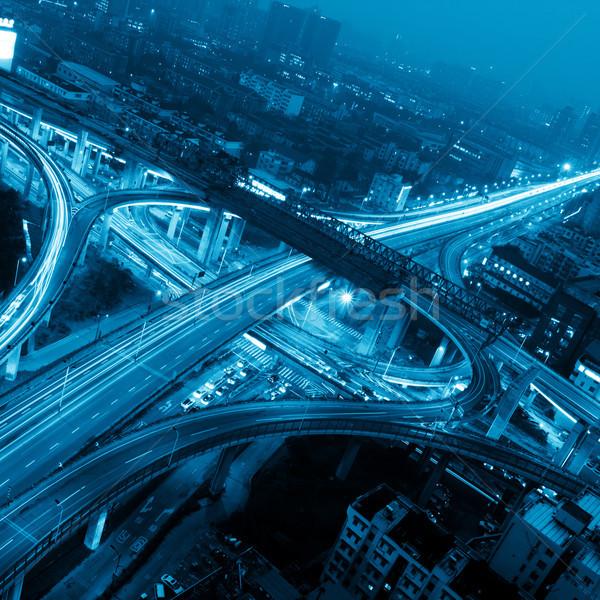 Weg avond auto stad straat Stockfoto © liufuyu