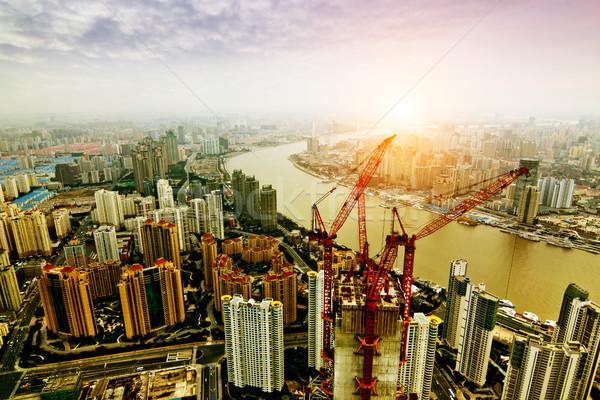 Sjanghai luchtfoto nacht gebouw stad achtergrond Stockfoto © liufuyu
