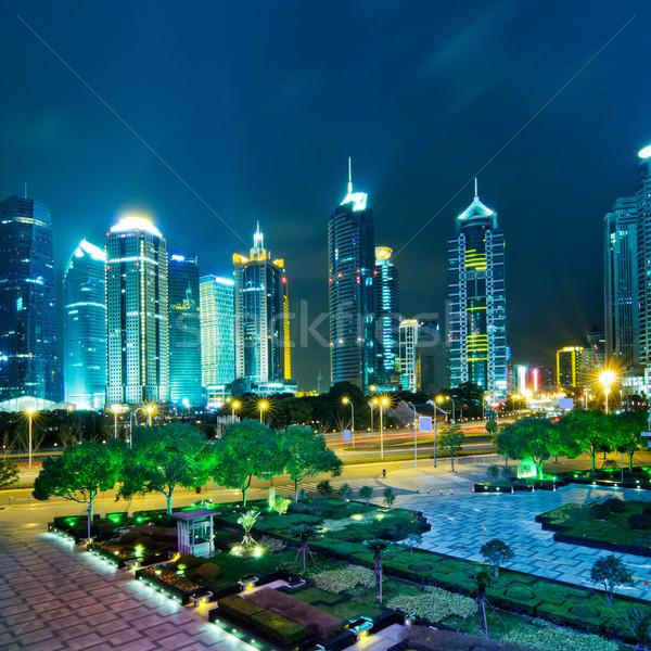 Sjanghai mooie financiële centrum hemel Stockfoto © liufuyu