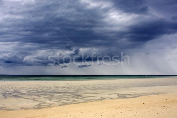 Zandstrand zand strand hemel rock indian Stockfoto © lkpro