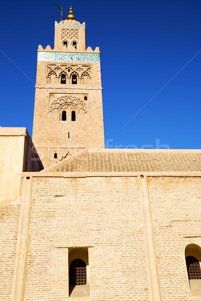 Minaret bleu Afrique ciel bleu vert marbre Photo stock © lkpro