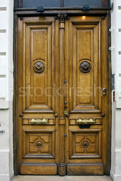 Barna fa öreg ajtó Buenos Aires centrum Stock fotó © lkpro