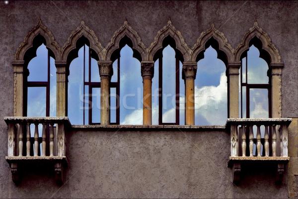 Velho terraço vidro verona Itália viajar Foto stock © lkpro