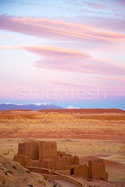 Tepe eski tuğla duvar Afrika Fas tarihsel Stok fotoğraf © lkpro
