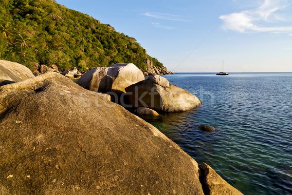 stone   thailand kho tao bay abstract of a blue lagoon   Stock photo © lkpro