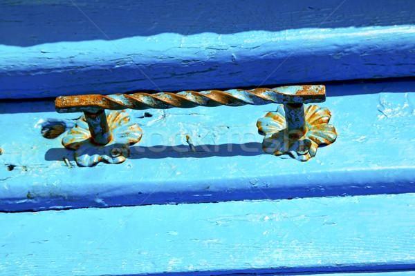 Azul metal Marrocos fachada casa seguro Foto stock © lkpro