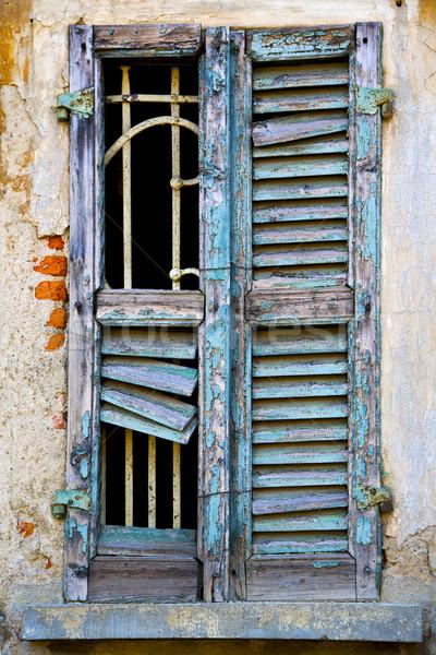 İtalya yeşil beyaz soyut pencere ev Stok fotoğraf © lkpro