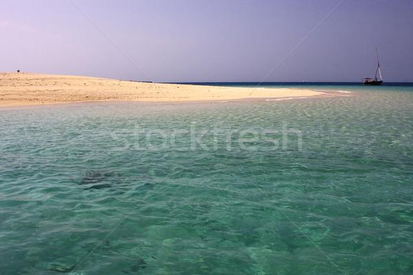 Tengerpart csónak homok bank Tanzánia égbolt Stock fotó © lkpro