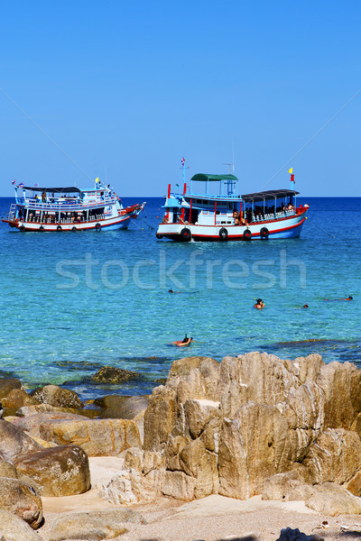 asia in the  kho tao bay isle     rocks   boat   thailand  and s Stock photo © lkpro