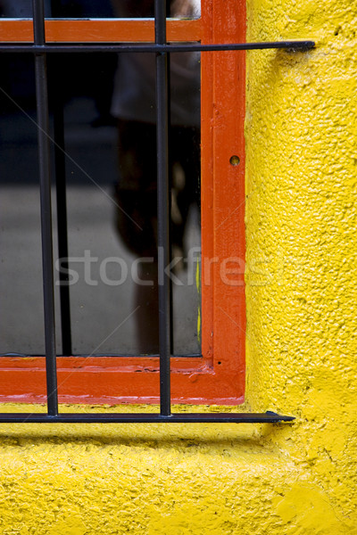 old red window and iron grate Stock photo © lkpro