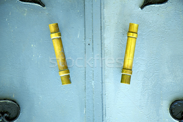 blue  in africa the old wood  facade home and safe padlock  Stock photo © lkpro
