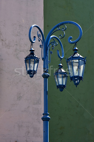 blue street lamp  and a green white  wall  Stock photo © lkpro