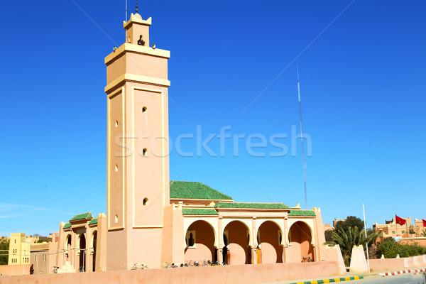 Afrika minare mavi gökyüzü yeşil mermer tarih Stok fotoğraf © lkpro
