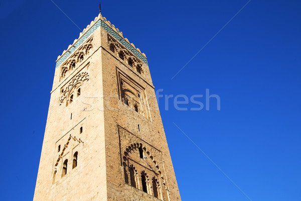 history in maroc   minaret religion and the blue     sky Stock photo © lkpro