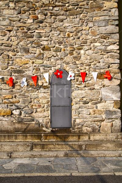 Plastik çiçek dekorasyon kapı İtalya milan Stok fotoğraf © lkpro