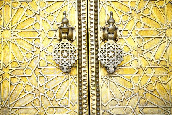 Metal paslı kahverengi Fas ahşap altın Stok fotoğraf © lkpro