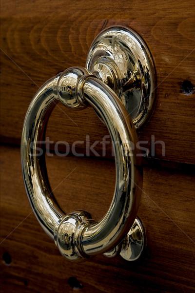 Złota miedź drzwi verona Włochy drewna Zdjęcia stock © lkpro