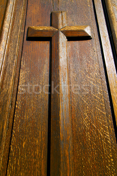 castellanza blur lombardy  a    curch  closed wood  cross Stock photo © lkpro