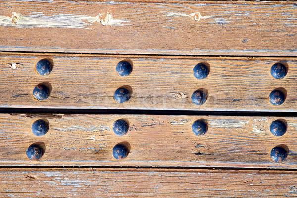 Tırnak kirli boya kahverengi ahşap mavi Stok fotoğraf © lkpro