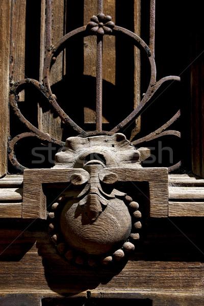 Zárva barna fa ajtó sárgaréz Buenos Aires Stock fotó © lkpro