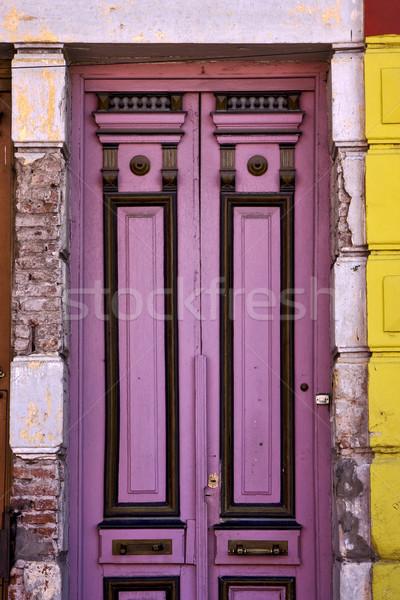 Photo stock: Noir · violette · bois · vieux · porte · centre