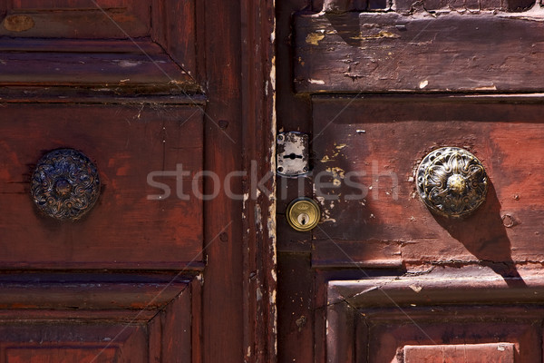 brass brown knocker in a closed wood  door Stock photo © lkpro